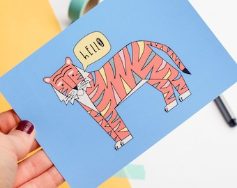 Positive Postcard - Hello Tiger - Postcard art