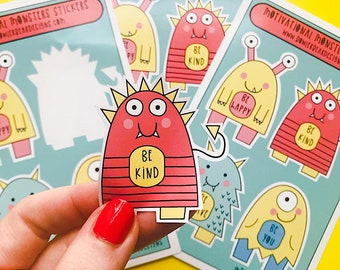 Motivational Monster Sticker sheet - A6 Sticker sheet - Motivational quote Sticker
