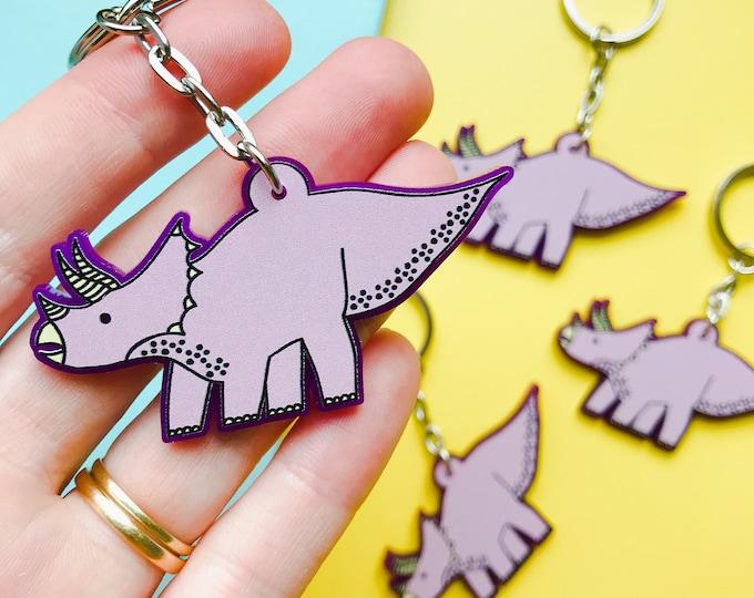 Dinosaur Keyring - Pink Triceratops