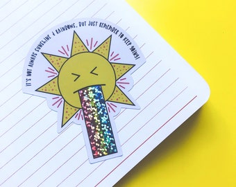 Sunshine & Rainbow vinyl - Rainbow sticker - Motivational sticker - Keep Going!