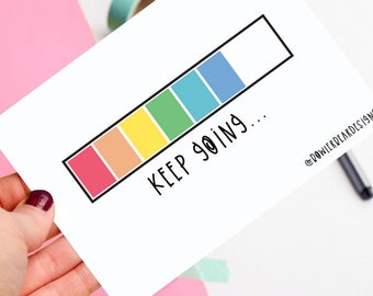 Keep going! - Positive postcard - colourful illustration
