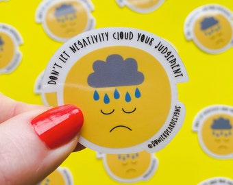 Sad face Sticker - Negativity sticker - Mental health sticker - Wellbeing sticker
