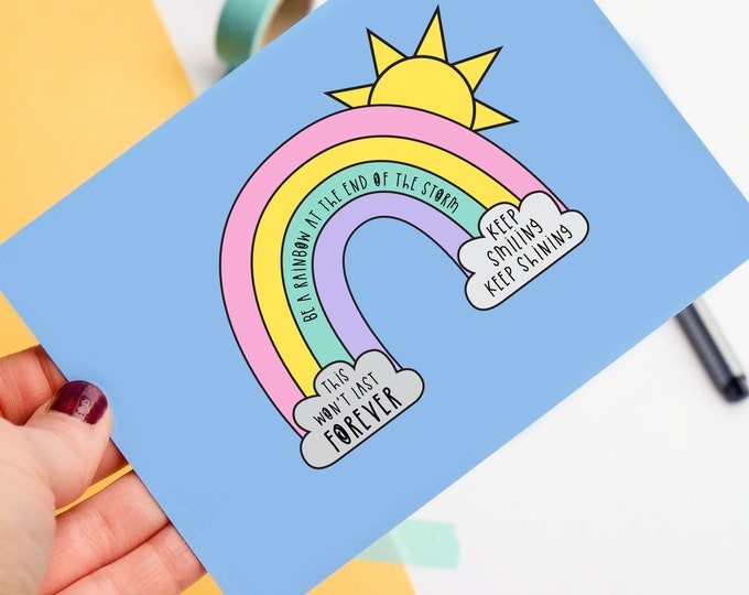 Be a Rainbow Postcard - Motivational quote - Happy post