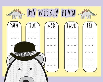 Homeschool print outs - Weekly planner - Reward chart - Homeschool timetable - digital print - Dinosaur colouring page