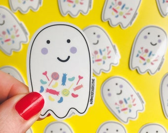Ghost Sticker - Transparent Ghost Vinyl - Trick or treat Ghost