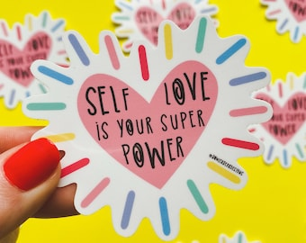 Self Love Sticker - heart sticker - wellbeing sticker