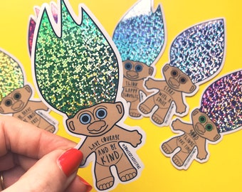 Troll Sticker - 90's nostalgia - positive sticker - Courage & Kindness Sticker - Troll Doll