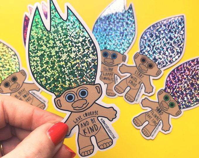 Troll Sticker - 90's nostalgia - positive sticker - Courage & Kindness Sticker - Troll Doll