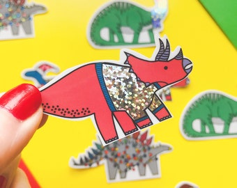Christmas Dinosaur sticker - Triceratops vinyl sticker - Glitter sticker