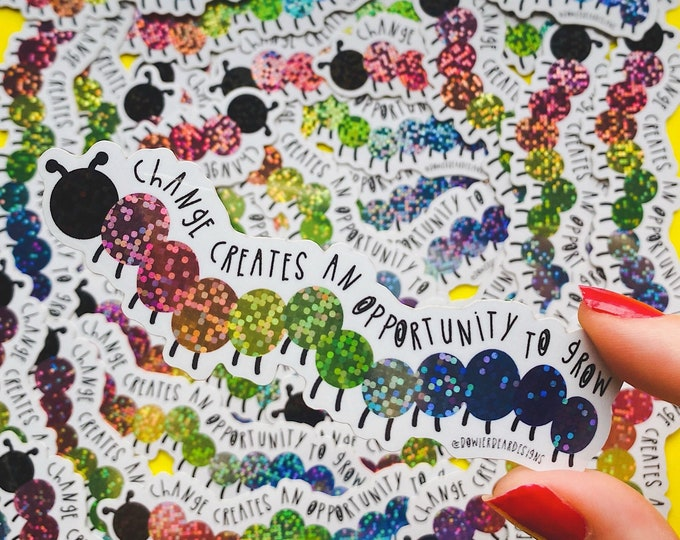 Featured listing image: Caterpillar Sticker - Glitter decal - Mental wellbeing Sticker - Colourful journaling sticker - Positive educational gift.