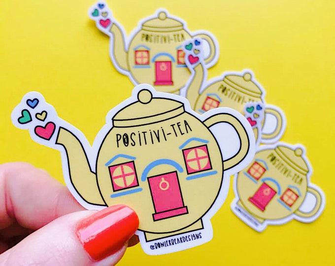 Featured listing image: Teapot Sticker - Positive Sticker - Nostalgic Christmas Sticker