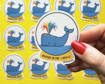 Breathe Sticker - Whale Sticker - Positive Sticker