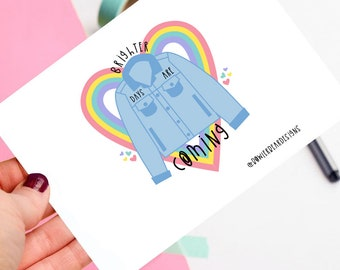 Brighter days are coming postcard! - Positive postcard - colourful illustration