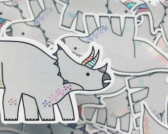 Triceratops Dinosaur sticker - Dinosaur vinyl sticker - Holographic sticker - Holographic vinyl