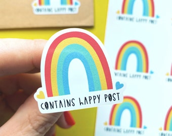 Contains happy post - Small business stickers - Packaging label