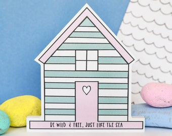 Pastel wall decor. Beach hut sign.