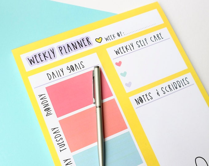 Featured listing image: Weekly planner notepad - A4 Motivational notepad