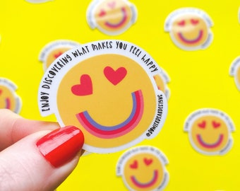 Happy face Sticker - Rainbow sticker - Emoji sticker - Wellbeing sticker