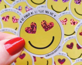 Heart face Sticker - Rainbow sticker - Emoji sticker - Wellbeing sticker