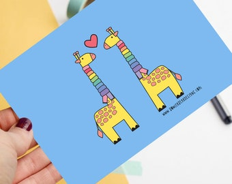 Giraffe - Positive postcard - colourful illustration - Autumn postcard
