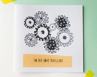 Love machine - Science themed card - Valentines card