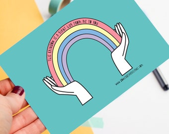 Rainbow Postcard - A hug from me to you - Motivational quote