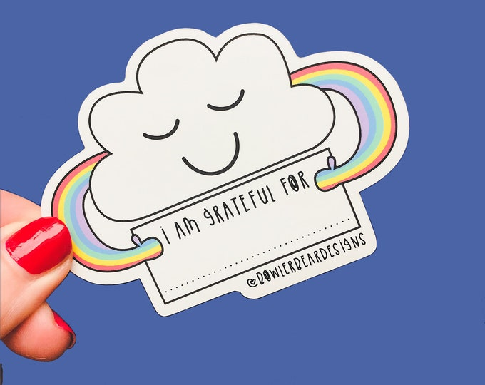 Gratitude sticker - Self reflection - Write on me - Rainbow Cloud Sticker