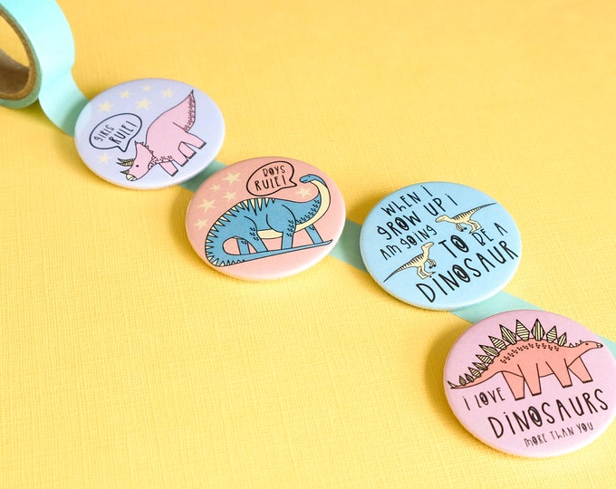 Dinosaur badge - button badge - Dinosaur gift