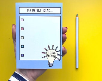 Bright ideas List - A6 Notepad - 50 pages - Motivational notepad