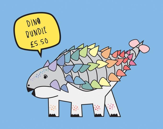 Dinosaur Rainbow sticker bundle - Vinyl Holographic sticker set
