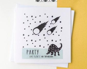 Dinosaur Party Birthday card. Blank inside.