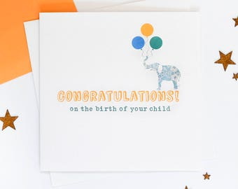 congratulations birth of your child birth card newborn card son daughter baby boy baby girl new parents card blank inside