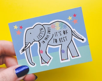 Elephant Sticker - Motivational Sticker - Rainbow Sticker