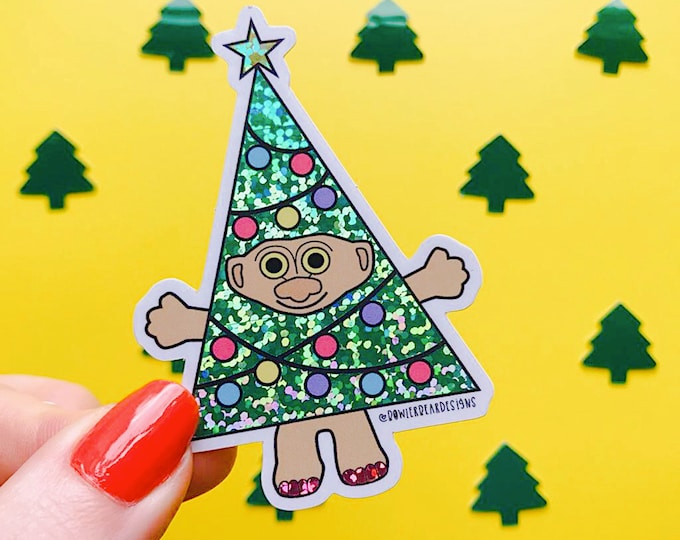 Featured listing image: Christmas Troll Sticker - 80's Sticker - Nostalgic Christmas Sticker