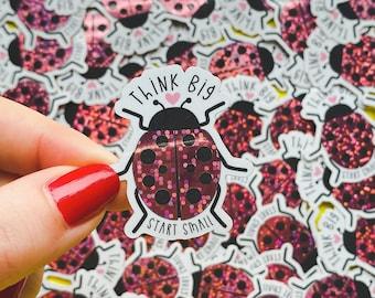 Ladybug Sticker - Glitter decal - Mental wellbeing Sticker - Ladybird stationery - Garden Journaling - Positive wellbeing gift.