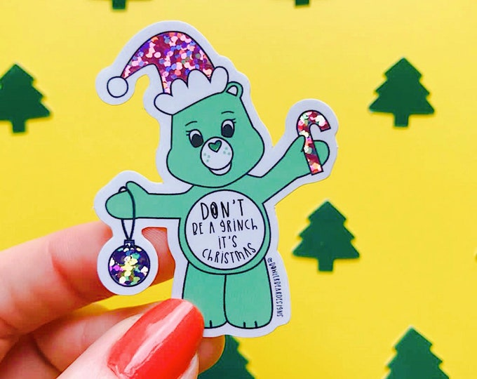 Featured listing image: Grinch Sticker - 80's Sticker - Nostalgic Christmas Sticker