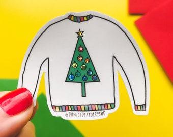 Christmas Jumper Sticker - Christmas vinyl - Christmas tree sticker