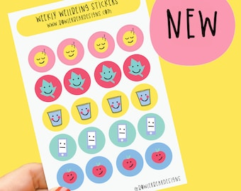 Weekly Wellbeing sheet - Rainbow sheet - Planning Stickers