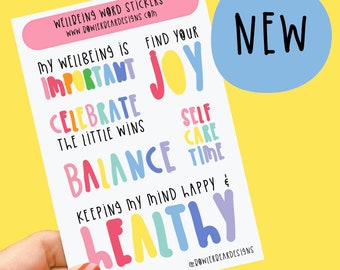 Wellbeing words sheet - Rainbow sheet - Planning Stickers