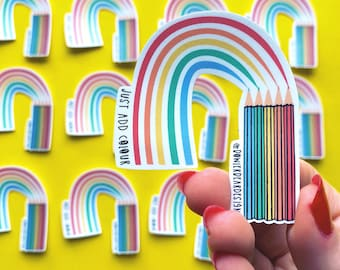Rainbow Crayons Sticker - Colourful Sticker