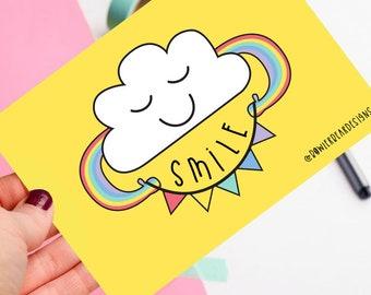 Smile Rainbow Postcard - Sending love - Thinking of you