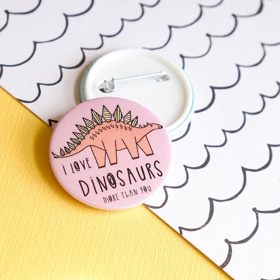 Dinosaur Pin badge. Button badge.
