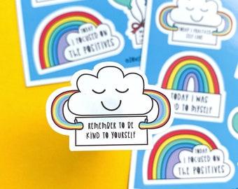 Self Care Sticker sheet - A6 Rainbow sheet - Wellbeing Stickers