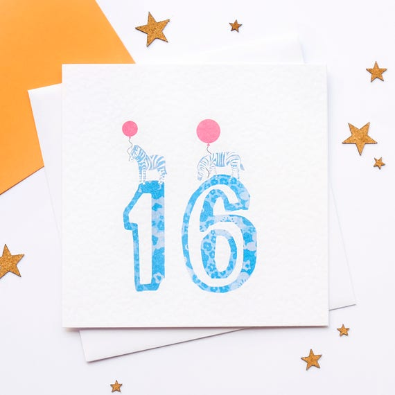 16th Birthday Card 16 Today Years Old Age