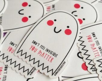 Ghost Sticker - Transparent Ghost Vinyl - You matter - Wellbeing Ghost - Mental health sticker - Halloween decal