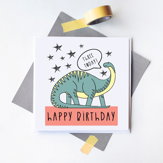 Age card - Birthday card - Kids card - Dinosaur card - Blank inside