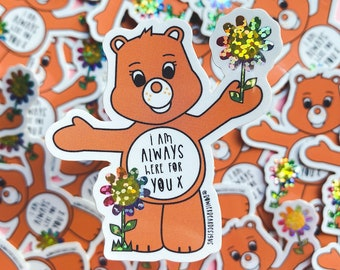 Wellbeing Bear Sticker - Rainbow Vinyl - Here for you