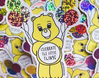 Wellbeing Bear Sticker - Rainbow Vinyl - Celebrate