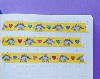 Dinosaur Washi tape - Rainbow decorative tape - Journaling Washi Tape - Cute Washi Tape