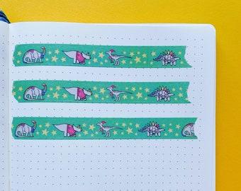 Christmas Dinosaur tape - Dinosaur themed decorative tape - Journaling Washi Tape - Festive Washi tape
